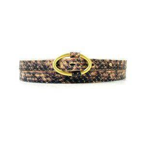 HP TALBOTS Snake Print Genuine Leather Skinny Belt